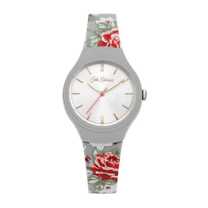 Cath Kidston Red Rose Grey Silicone Strap Watch & 2 Year Guarantee
