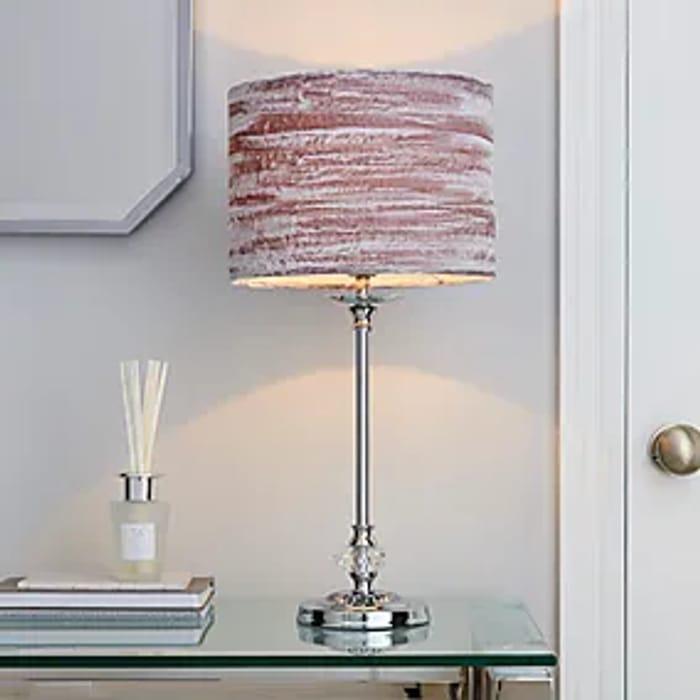 Lulu Crushed Velvet Grey Table Lamp