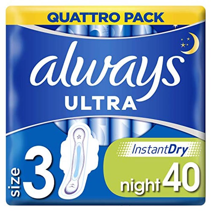 Always Ultra Night Sanitary Towels with Wings, 40 Each - Only £5!