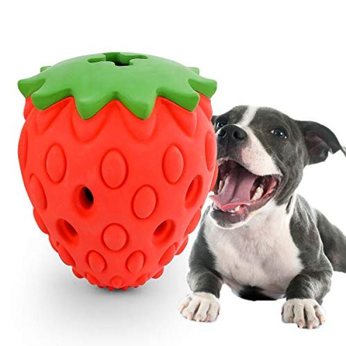 Indestructible Strawberry Treat Dog Toy (55% off Discount Code)