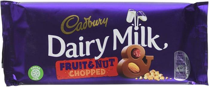 Cadbury Dairy Milk Fruit and Nut Chocolate Bar, 95 G