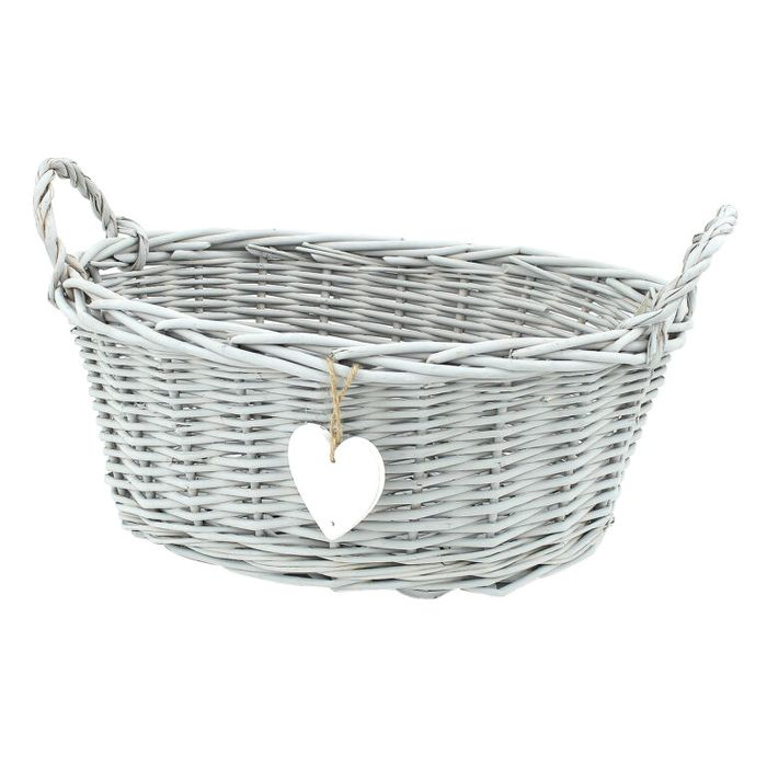 Oval Grey Wicker Basket with Handles