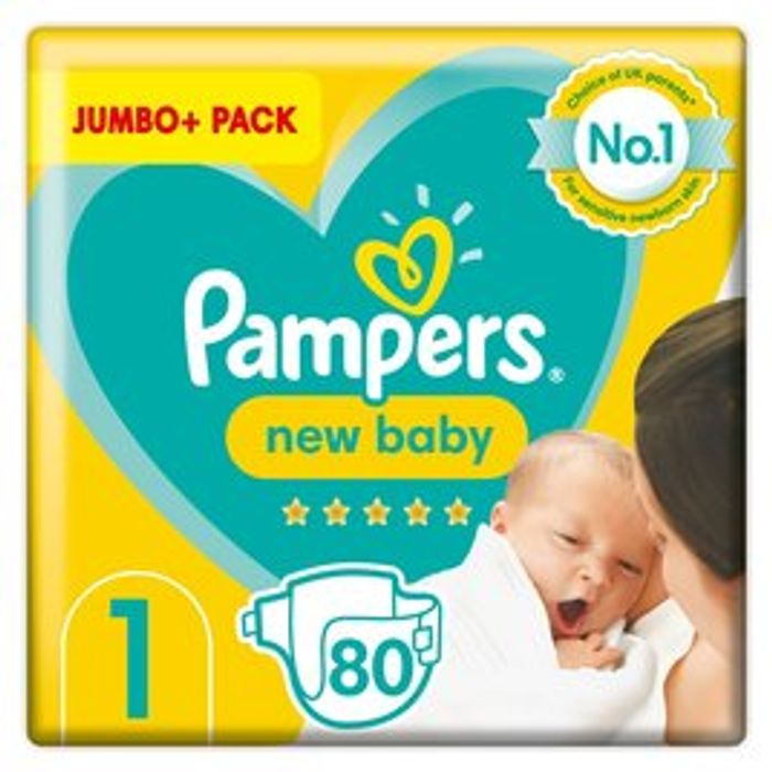 Pampers New Baby Size 1 Jumbo+ Pack 80 Nappies - Only £4.99!