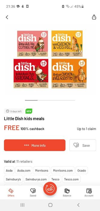 Free Little Dish Kids Meal on Checkout Smart App.