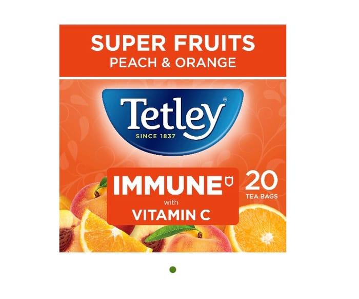 Tetley Super Fruits Immune Peach and Orange 20 Tea Bags