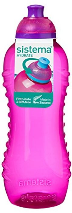 Sistema Hydrate Twist 'N' Sip Water Bottle, 460 Ml - Pink - Only £2!