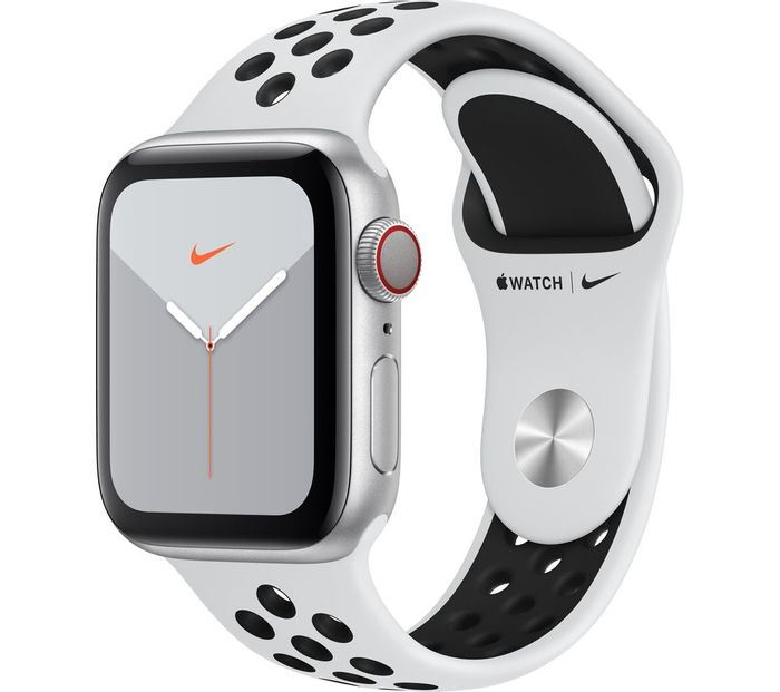 APPLE Watch Series 5 Cellular - Silver/Platinum & Black Nike Sports Band, 40 Mm