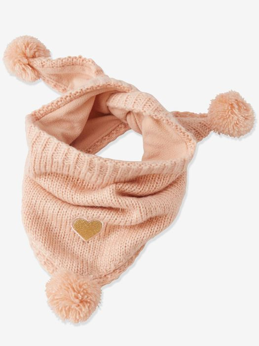 Triangular Heart Snood with Pompoms, for Girls