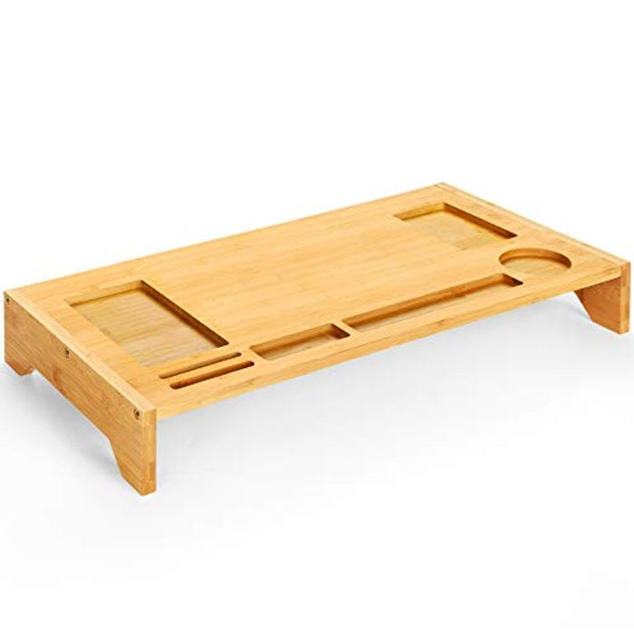 Bamboo Monitor Stand with Phone Grooves & Pen Notches