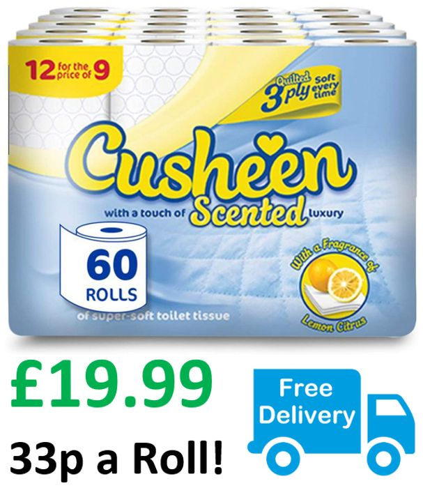 60 Cusheen Quilted 3 Ply Toilet Rolls - Lemon Fragrance + FREE DELIVERY