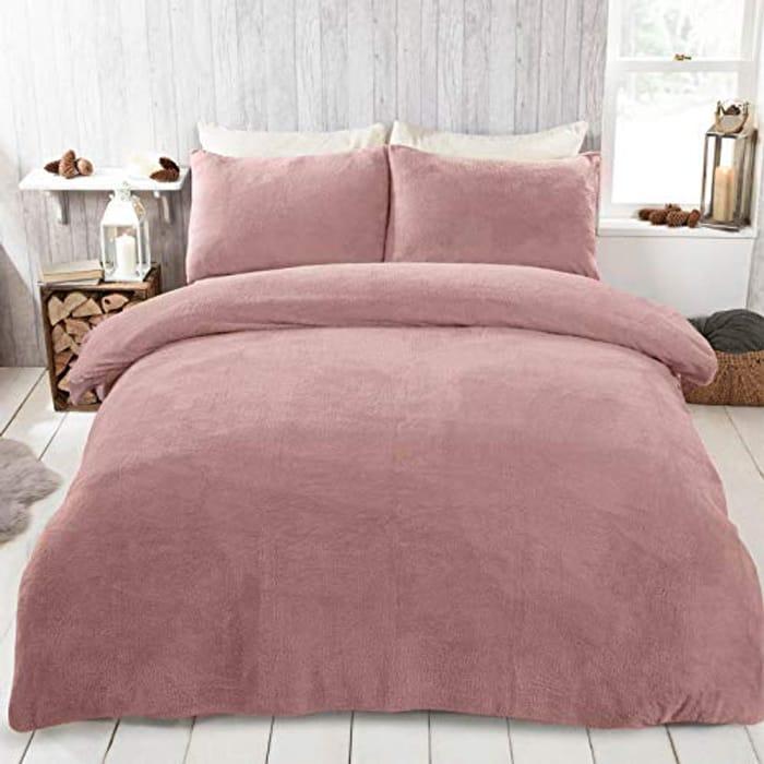 Brentfords Teddy Fleece Duvet Cover with Pillow Case Double