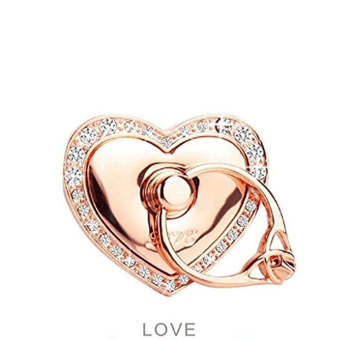Love Heart Diamond Shape Ring Finger Stand for Smartphone