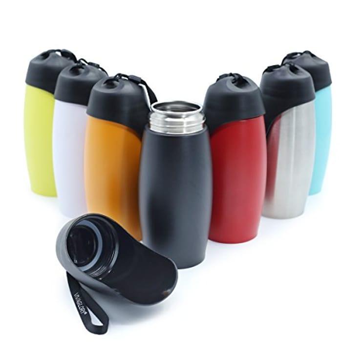 VIVAGLORY Dog Water Bottle, 750 Ml Stainless Steel Dog Bowl Water Bottle