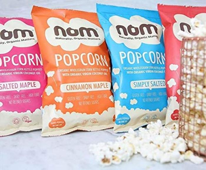 Nom Popcorn Made with Organic Coconut Oil, 20g, Multipack Popcorn, Pack of 20
