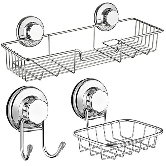 Bath Shower Caddy/Soap Dish/Double Bath Hook-Bath Organizer - 5% Voucher