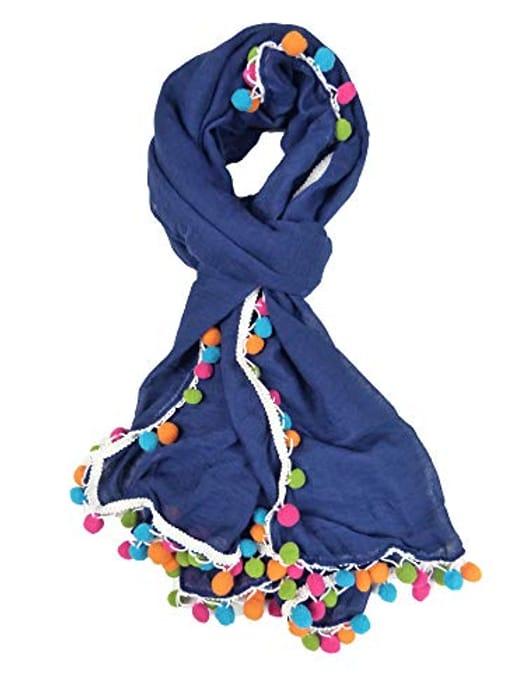 Claudia & Jason Colorful Pom Pom Scarf Wraps Shawl Soft Scarves