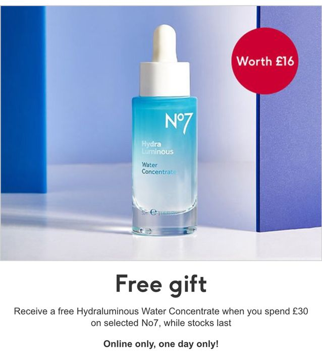 Free No7 HydraLuminous Water Concentrate When You Spend £30 on Selected No7 -M