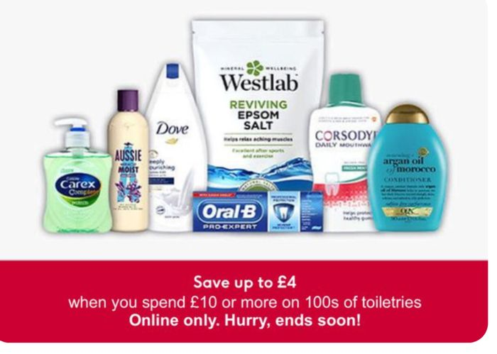 Save up to £4 When You Spend £10 or More on Selected Toiletries Online Only