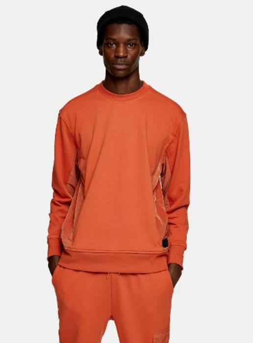TOPMAN LTD Rust Panel Sweatshirt