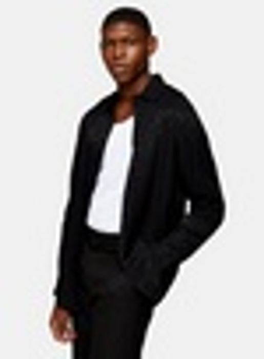 Black Animal Print Jacquard Slim Shirt