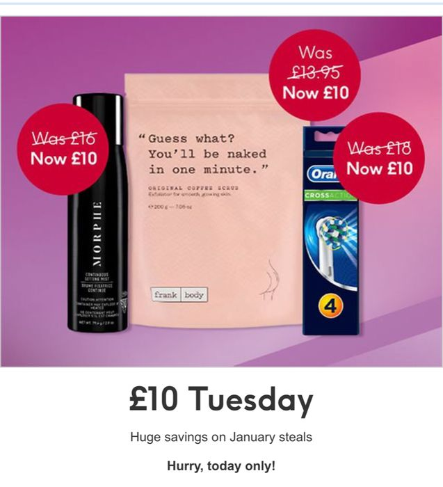 £10 Tuesday Offer at Boots