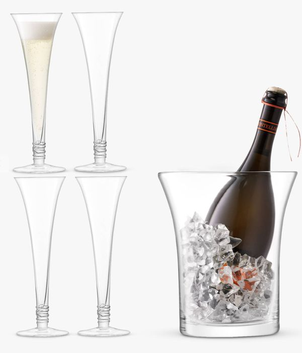 LSA International 4 Prosecco Flutes & Ice Bucket Gift Set, Clear