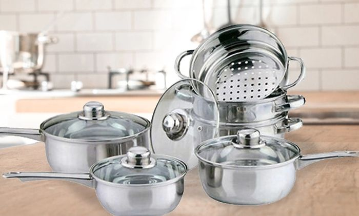 10 Piece Stainless Steel Pan & Steamer Set - £33.99 Delivered