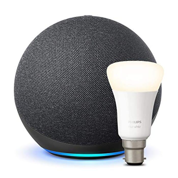 Amazon Echo (4th Generation), Charcoal + Philips Hue White Bulb B22