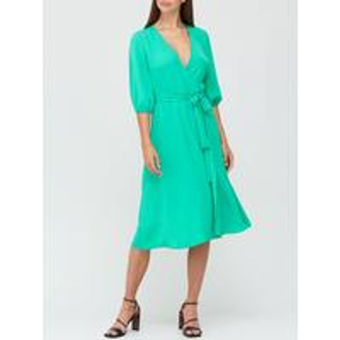 V by Very Long Sleeve Wrap Dress - Green