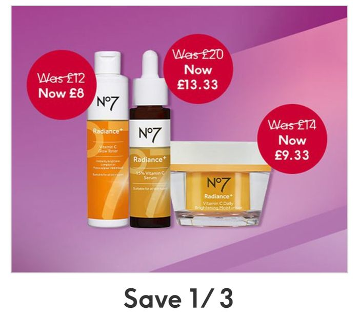 No7 Flash Deal - save 1/3 on Selected New No7 Radiance plus Collection -