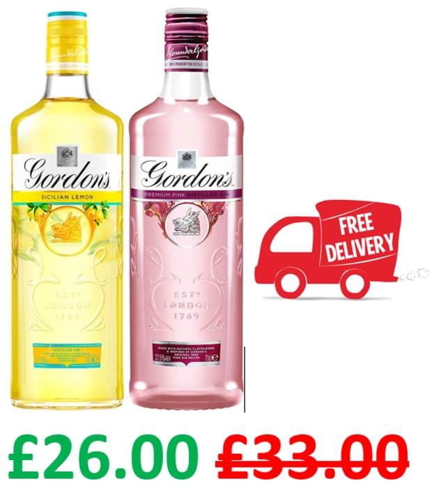 Gordon's Sicilian Lemon Gin + Gordon's Premium Pink Gin 70cl BUNDLE DEAL