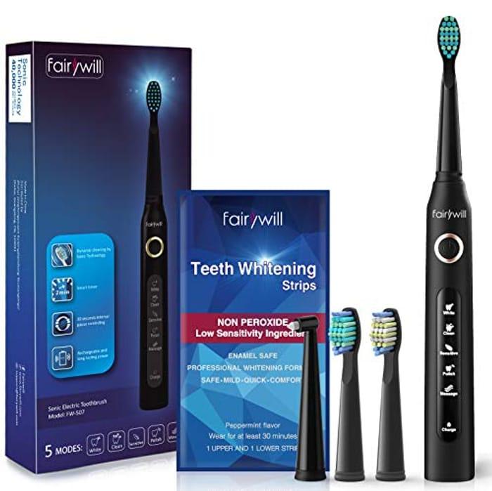 Teeth Whitening Strips 28Pcs + Sonic Electric Toothbrush Kit