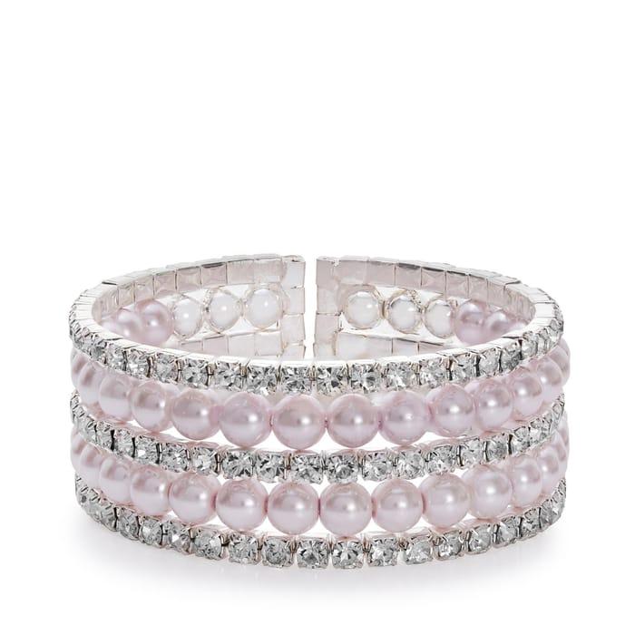 Jon Richard - Multirow Diamonte & Pink Pearl Cuff Bangles