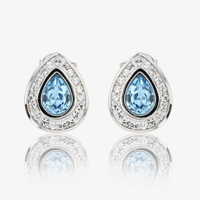 Swarovski Crystals Aqua Blue Colour Earrings