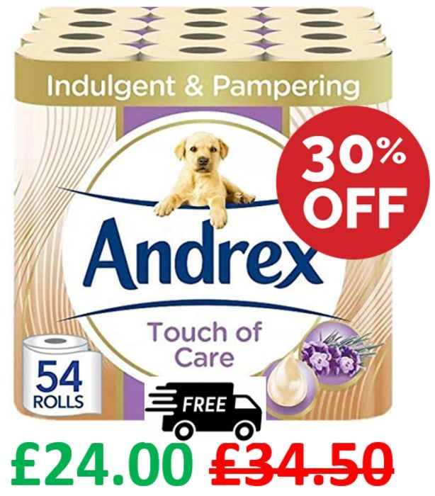 SAVE £10.50 - 54 Andrex Touch of Care Toilet Rolls + FREE DELIVERY