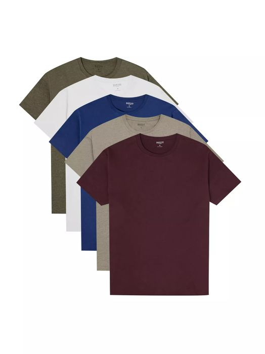 5 Pack Burgundy, Stone, Indigo, Khaki and White Organic T-Shirts