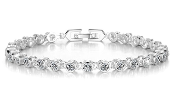 Philip Jones Solitaire Bracelets with Crystals from Swarovski