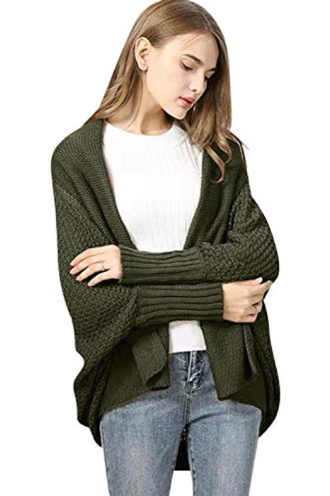 Womens Knitted Slouchy Oversized Wrap Cardigan