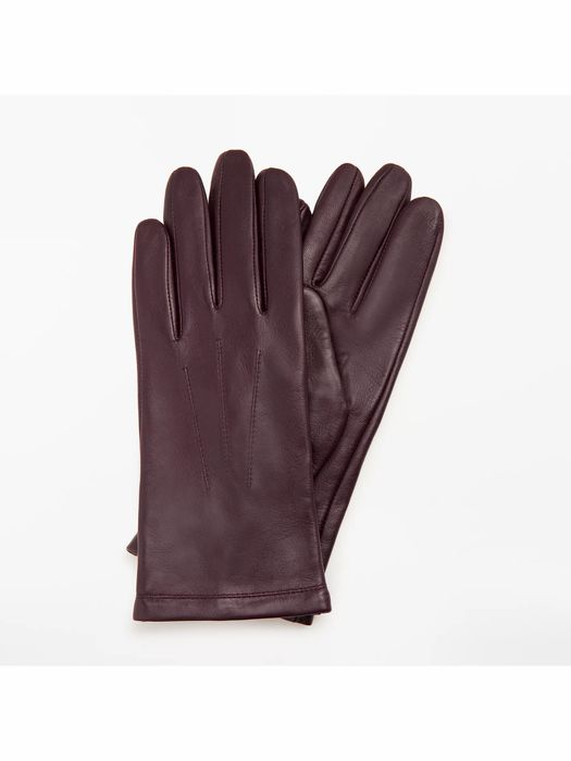 John Lewis & Partners Genuine Leather Gloves, Claret - Size S
