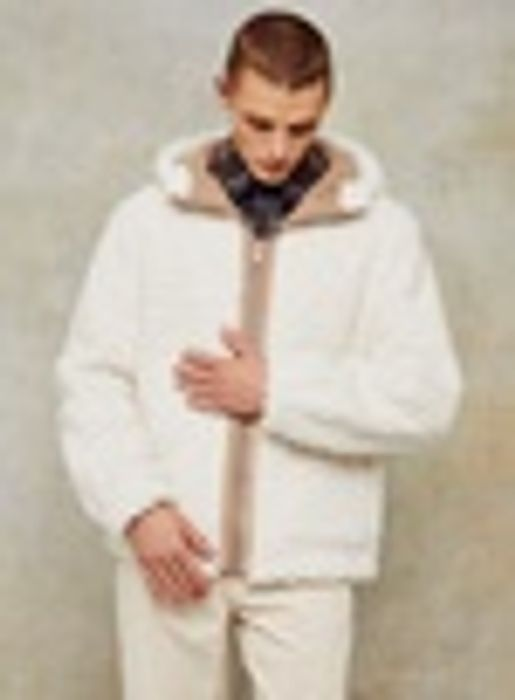 White Hooded Shearling Jacket