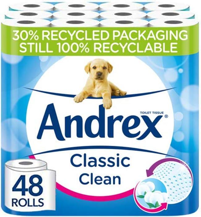 Andrex Classic Clean Toilet Tissue, 48 Toilet Rolls