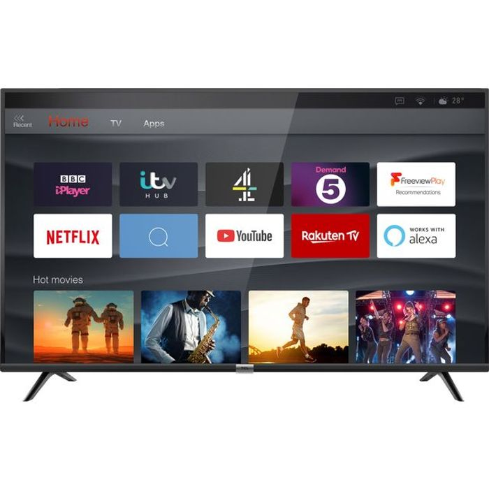 """*SAVE £30* TCL 55"""" Smart 4K Ultra HD TV with HDR10 and Freeview Play"""