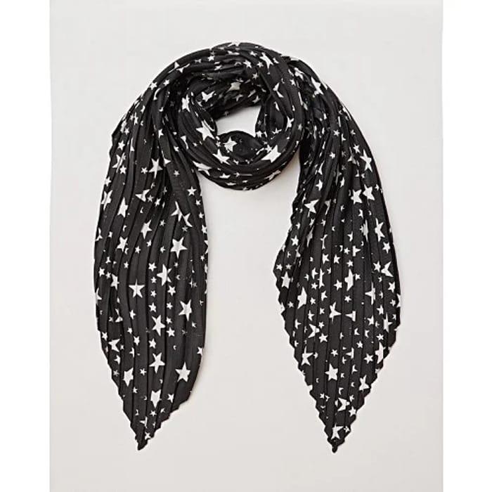 Star Print Black Pleated Hair Scarf