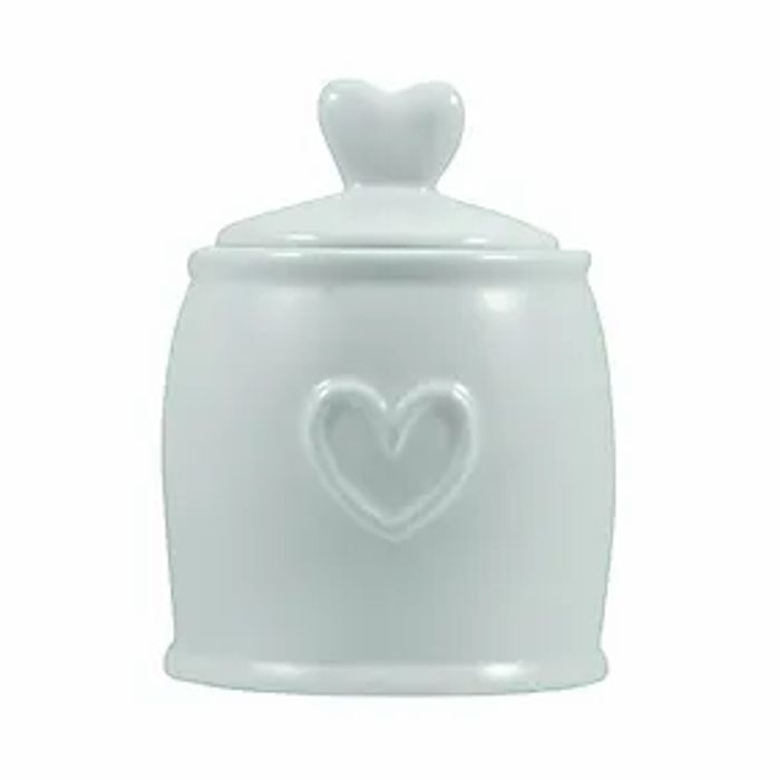 Country Heart Duck-Egg Sugar Pot