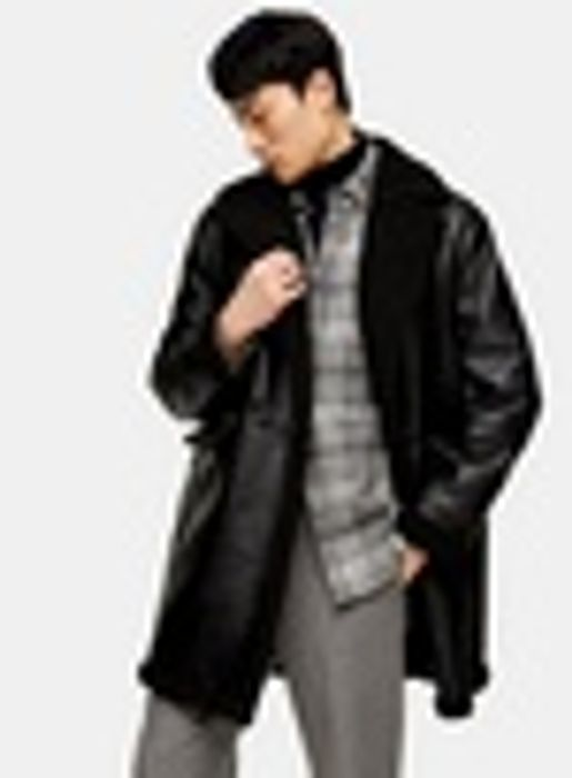 Black Double Breasted Shearling Jacket