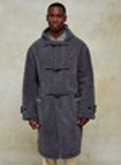 Grey Shearling Duffle Coat