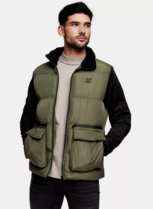 SIK SILK Instinct Puffer Jacket in Khaki
