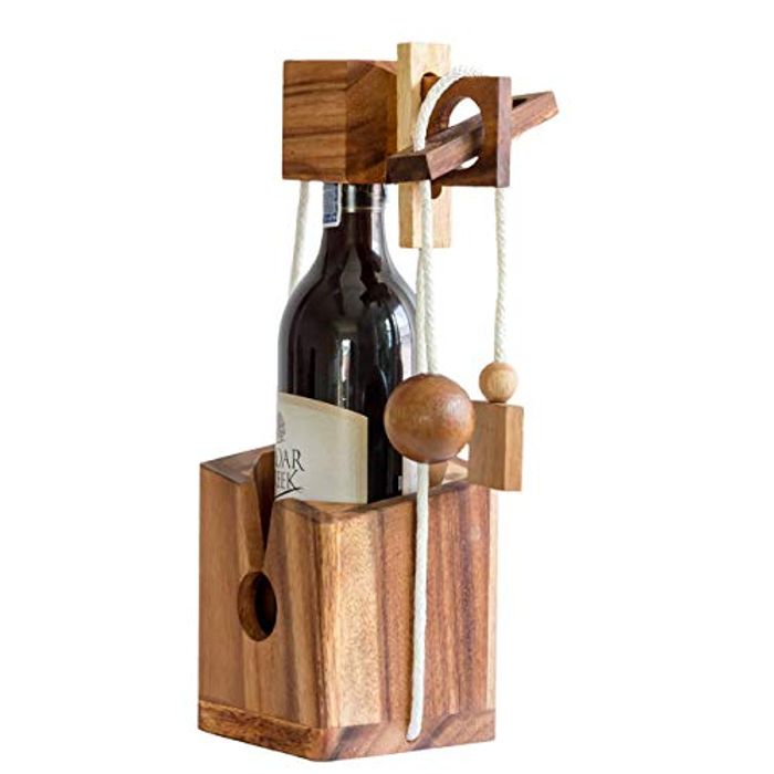 Bottle Lock Challenge Brain Teaser Wooden Puzzle