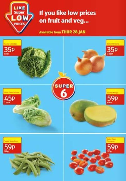 Aldi Super 6 - Brown Onions , Cabbage ,Little Gem, Lettuce ,Mango, from 35p