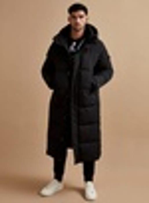 SIGNATURE Black Extra Longline Puffer Jacket